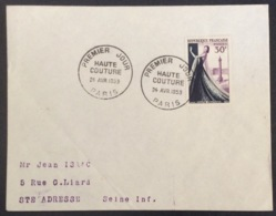 55- Haute Couture 941 FDC PremierJour Paris 24/4/1953 Lettre - 1950-1959