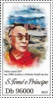 Sao Tome Dalai Lama Tibet Nobel Peace Prize 1v Stamp MHN Michel:5330 - Famous People