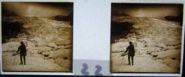 CHAMONIX : Sur Le Glacier Des Bossons. Plaque De Verre Stéréoscopique. Positif - Plaques De Verre