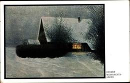 Artiste Cp Hecker, Weihnachtsabend, Winterlandschaft Mit Haus - Non Classés