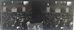 ROMA : Celebrazione, Muro Conquista Di Roma 1870. Porta Pia. Plaque De Verre Stéréoscopique. Négatif - Plaques De Verre