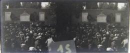 ROMA : Celebrazione, Muro Conquista Di Roma 1870. Porta Pia. Plaque De Verre Stéréoscopique. Négatif - Diapositiva Su Vetro