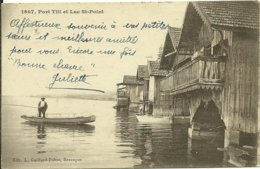 25 Doubs PORT TITI ET LE LAC ST POINT Animée Pécheur En Barque - France