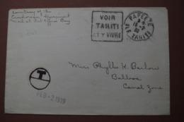 7-047 RARE Daguin 1939 Flamme Voir Tahiti Et Y Vivre Papetete Balboa Canal Zone Stella Polaris Yacht Panama - Poststempel (Briefe)