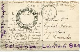 - MILITARIA, Beau Cachet Militaire Noir, Batterie Alpine De La XV Région, Nice, 2 éme Artillerie De Montagne, TBE, 1915. - Marcophilie (Lettres)