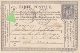 France: Entier Carte Précurseur - SAGE N° 66 - 15c Gris Sur Carte Type 1873 -  Cachet Facteur: H - Recto/verso - Biglietto Postale