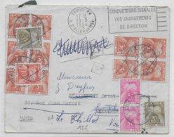 SPECTACULAIRE TAXE GERBES - 1954 - ENVELOPPE De PARIS => PARIS => LE THILLOT (VOSGES) => PARIS ! - Postmark Collection (Covers)