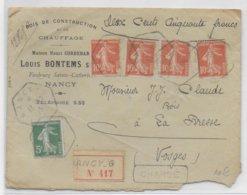 1915 - ENVELOPPE CHARGEE De NANCY RECETTE AUXILIAIRE G ! (MEURTHE ET MOSELLE) => LA BRESSE (VOSGES) - Storia Postale