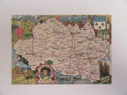 Carte Postale Représentant Une Carte Géographique De L'Allier - Carte Couleur Non-circulée - Landkaarten