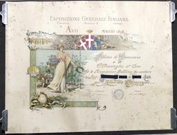 Enologia - Esposizione Generale Italiana - Asti - Diploma Di Benemerenza - 1898 - Vecchi Documenti