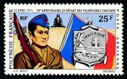 POLYNESIE 1971 - Yv. PA 47 **   Cote= 13,00 EUR - Départ Des Volontaires Polynésiens  ..Réf.POL24377 - Poste Aérienne