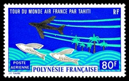 POLYNESIE 1973 - Yv. PA 73 *   Cote= 29,00 EUR - Tour Du Monde Air France Par Tahiti  ..Réf.POL24390 - Poste Aérienne