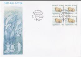 Greenland FDC 1991 Animals Block Of Four  (LAR8-48) - FDC