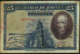 SPAIN - 25 Pesetas 15.08.1928 {Banco De España} Fine P.74 B - 1-2-5-25 Pesetas