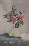 AL78 Greetings - Birthday Joys, Vase With Pink Roses - Birthday