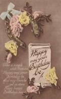 AL78 Greetings - Birthday, Pink And Yellow Roses, Horseshoe, Ribbon - Birthday