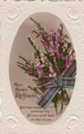 AL78 Greetings - Many Happy Returns, Heather, Tartan Ribbon - Birthday