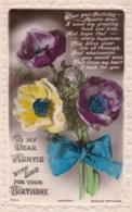 AL78 Greetings - Family Birthday, Auntie, Flowers, Ribbon - Birthday