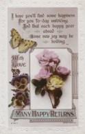 AL78 Greetings - Many Happy Returns, Roses, Pansies, Butterfly - Birthday