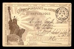 CARTE DE FRANCHISE MILITAIRE - STATUE DE LA LIBERTE - VOYAGE LE 24.10.1918 - GUERRE 14/18 - Poststempel (Briefe)