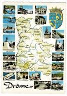 J. 11 - Département De La Drome Dessiné - Multivues, 20 Vues Et Blason - Pas Circulé - Landkaarten