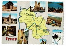 30063 - Département De L'Isère - Contour Géographique Dessiné - Multivues, 9 Vues - Pas Circulé - Landkaarten