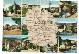 """1595 - Lozère - Contour Géographique Dessiné - Multivues, 11 Vues - Tampon Verso """"Gorges Du Tarn, Lieu De Séjour"""" - Landkaarten"""