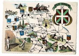 Nos Belles Pyrénées - 1735 - Le Pays Basque - Contour Géographique Illustré A. Emmanuélli, Blasons Région & Villes - Landkaarten