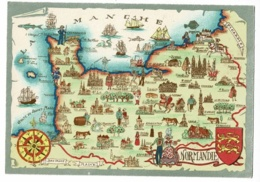 Normandie - Région Illustrée, Blason & Rose De Vents - Barré-Dayez - Pas Circulé - Landkaarten