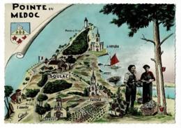 1110 B - Pointe Du Médoc - Contour Géographique Illustré & Photo - Pas Circulé - Landkaarten