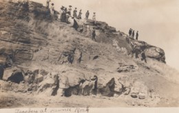 Teachers At Pawnee Rock Kansas, Sante Fe Trail Landmark, C1900s/10s Vintage Real Photo Postcard - Stati Uniti