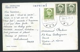 """Cpa """"   Groenland éléphant De Mer """" Afranchie En 1958  ( Plis Dans Un Angle  - Raa 3622 - Groenland"""