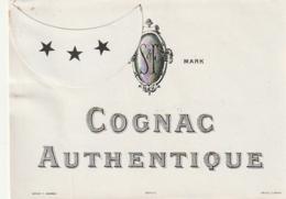 **  étiquette ***   COGNAC AUTHENTIQUE    - 1910/1930 Peut être Avant (3 étoiles Par Point Colle) - Bordeaux