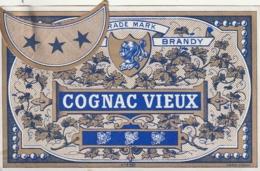 **  étiquette ***   COGNAC VIEUX  - 1910/1940 Peut être Avant (3 étoiles Par Point Colle) - Bordeaux