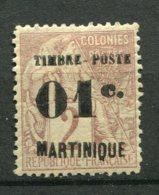 15134 MARTINIQUE N°26 * 01c. S. 2c. Timbre Des Colonies De 1881 Surchargé  1891  B/TB - Martinica (1886-1947)