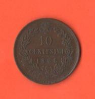 10 Centesimi 1866 Napoli  Re Vittorio Em. II° Regno Italia Bella Qualità Patina Cioccolata - 1861-1878 : Victor Emmanuel II.