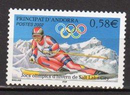 Andorre Français Yvert N° 566 Neuf Skieur Jeux Olympiques D'hiver De Salt Lake City Lot 19-19 - Französisch Andorra