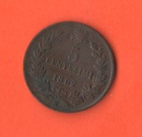 5 Centesimi 1862 Napoli  Re Vittorio Em. II° Regno Italia - 1861-1878 : Victor Emmanuel II.