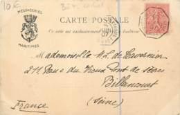 Poste Maritime 1907 - Cachet De Marseille à Yokohama L.N. N°1 - Messageries Maritimes à Bord Du Tonkin - Colonies - Marcofilia (sobres)
