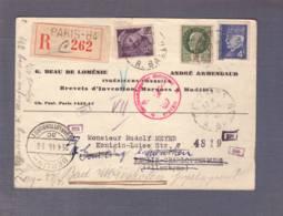 """C.P. Reco 262""""Ingénieurs-conseils"""" Obl. Paris 84 - 15.04.1943- Zensur/Censored/Censure E+b Combinaison Pas Courante! - Postmark Collection (Covers)"""