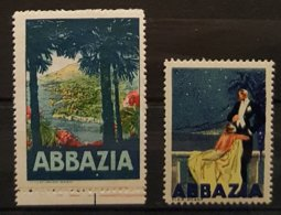 Lot De 2 Vignettes Anciennes - CROATIE - ABBAZIA  OPATIJA   (Istrie)   /Reklamemarke /V2 - Erinnofilia