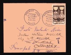 FRANCE TAXE T Et Timbre Au Verso 1952 Sur FDC MEDAILLE MILITAIRE ( Réexpédition En Poste Restante ) - Cartas Con Impuestos