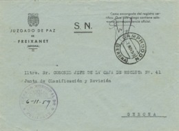34292. Carta S.N. Franquicia Juzgado Municipal FREIXANET (Gerona) 1959. Fechador Camprodon - 1931-Hoy: 2ª República - ... Juan Carlos I