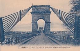 Bv - Cpa LORIENT - Le Pont Suspendu De Kerentrech, Dit Pont St Christophe (avec Une Voiture) - Lorient