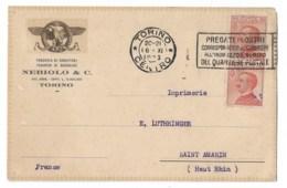 Carte Nebiolo  Torino  1923  Pour Imprimerie LUTHRINGER à  Saint Amarin. - Storia Postale