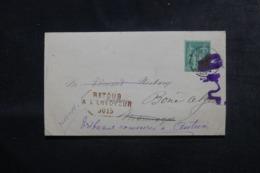 FRANCE / ALGÉRIE - Lettre Du Tribunal De Commerce De Autun Pour Bône En 1885 Et Retour, Affranchissement Sage - L 44557 - Storia Postale