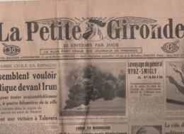 LA PETITE GIRONDE 31 08 1936 - GUERRE ESPAGNE IRUN - ROUMANIE - POLOGNE - CASABLANCA - EGYPTE - LANGON LAULAN - Giornali
