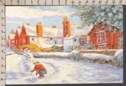 97035GF/ NOUVEL AN, *Les Joies De La Neige*, Enfant Faisant Un Bonhomme De Neige, Illustrateur K. Jansz, APBP - Año Nuevo