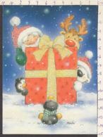 98020GF/ NOUVEL AN, Père Noël Caché Derrière Un énorme Cadeau, Paillettes, Illustrateur Maki - Año Nuevo