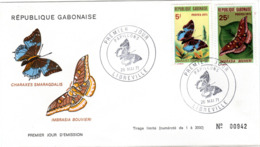 GABUN, FDC, Butterflies    /  REPUBLIQUE  GABONAISE, Lettre De Première Jour, Papillons,  1971 - Schmetterlinge